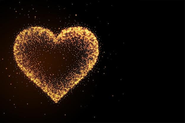 Glowing golden glitter heart black background Free Vector