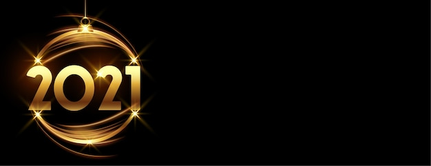 Glowing golden happy new year 2021 bauble on black banner Free Vector