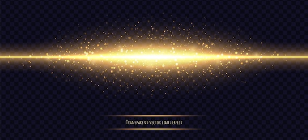 Glowing golden line with light effect isolated on dark transparent Premium Vector