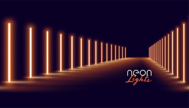 Glowing golden neon lights line floor background Free Vector
