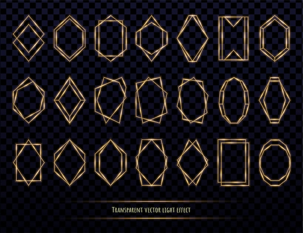Glowing golden polygonal frames collection isolated on transparent Premium Vector