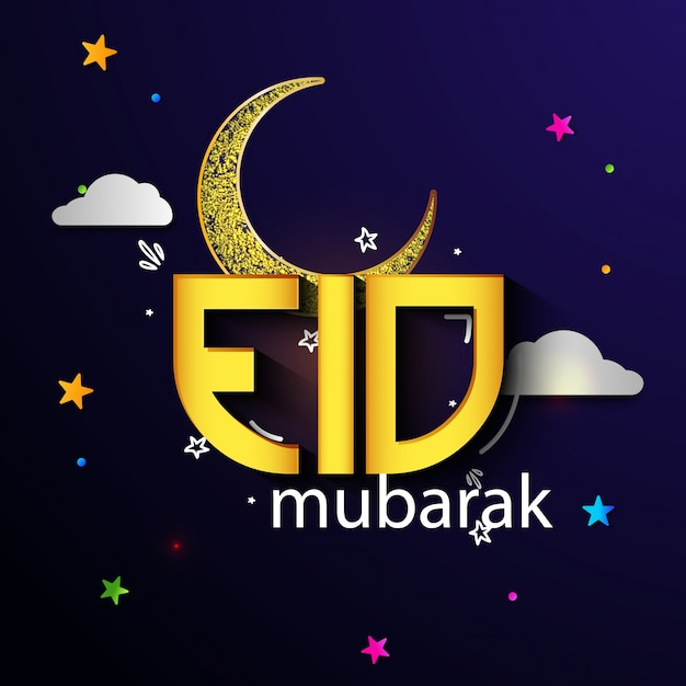 Glowing Golden Text Eid With Creative Crescent Moon On Colorful