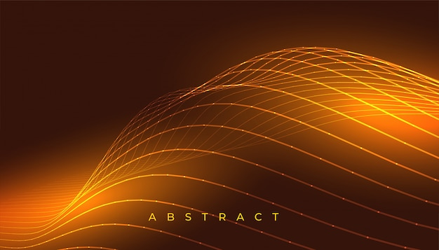 Glowing golden wavy lines abstract background design Free Vector