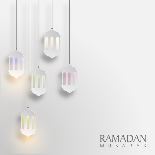 Glowing Hanging Paper Lamps Decorated Background For Islamic Holy