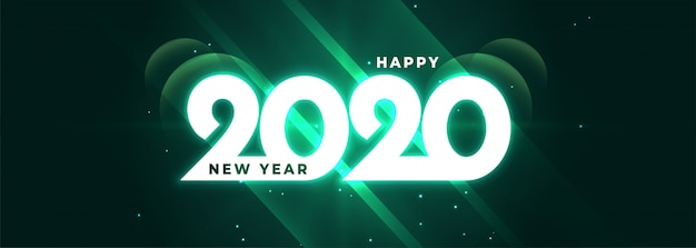 Glowing happy new year 2020 shiny banner Free Vector