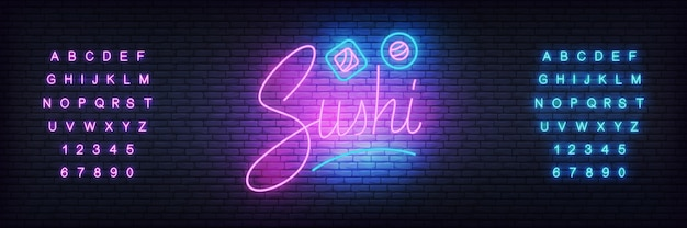 Glowing lettering sushi and rolls Premium Vector