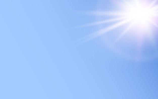 青い背景に輝く光の効果 Premiumベクター