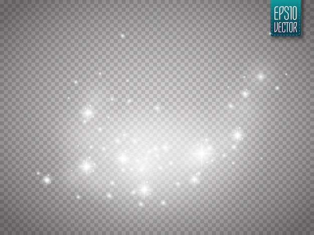 Glowing light effect with glitter particles isolated Premium Vector
