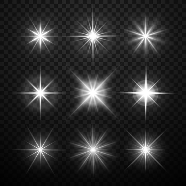 Glowing light effects, stars bursts with sparkles isolated on transparent checkered background. vect Premium Vector