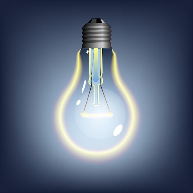 Светящаяся лампочка на темном фоне Premium векторы