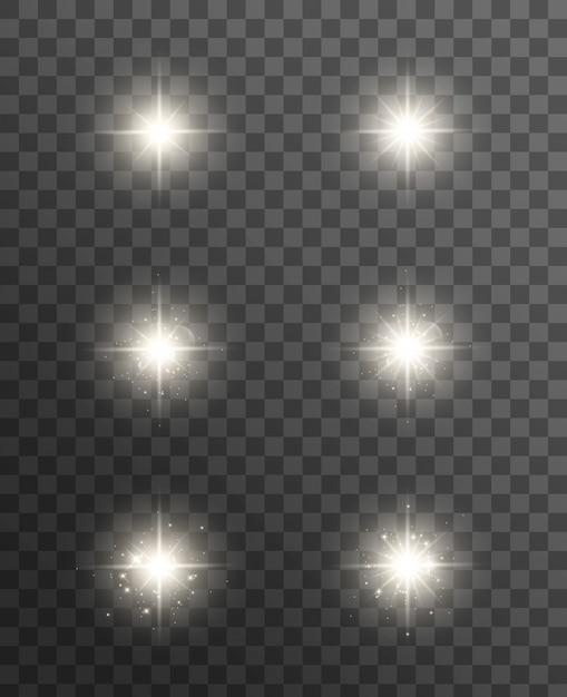 Светящиеся огни эффект, вспышка, взрыв и звезды. спецэффект изолирован на прозрачном. Premium векторы