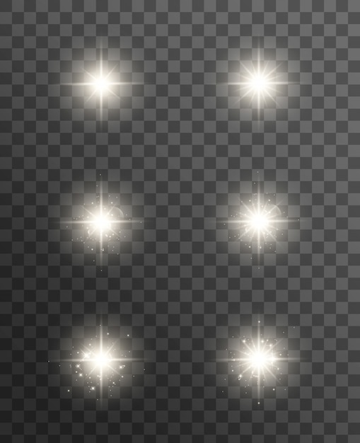 Glowing lights effect, flare, explosion and stars. special effect isolated on transparent . Premium Vector