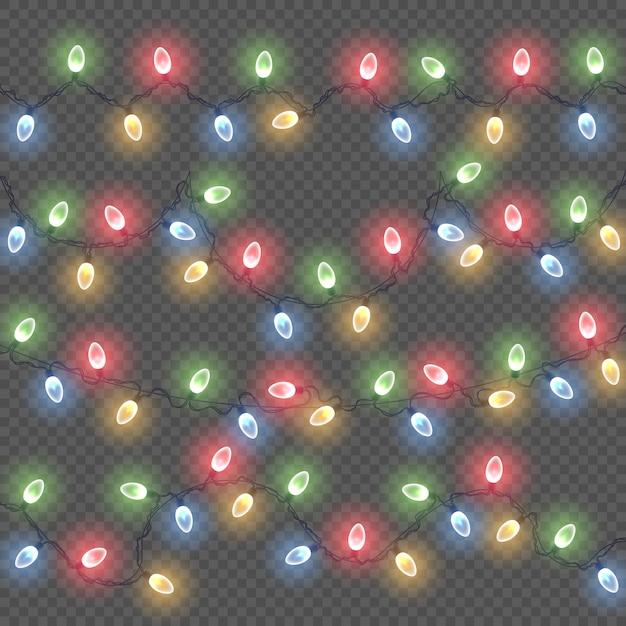クリスマスホリデーカードの光るライト Premiumベクター
