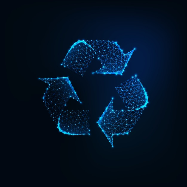 Glowing low poly recycle sign icon made of connected lines Premium Vector