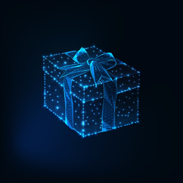 Glowing low polyg gift box with ribbon bow Premium Vector