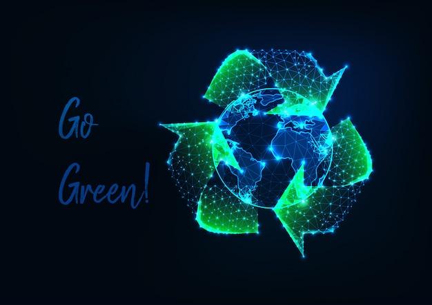 Светящийся низкий многоугольной земной шар и зеленый знак корзины Premium векторы