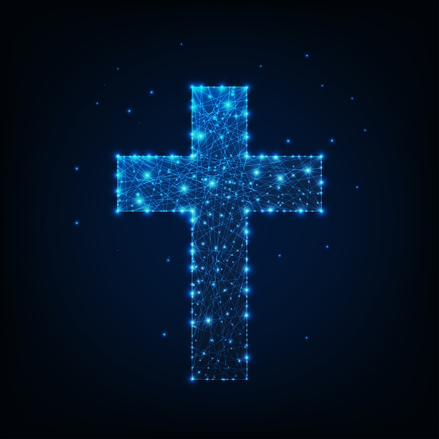 Glowing low polygonal religious christian cross. Premium Vector