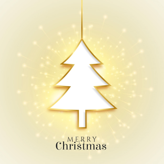 Glowing merry christmas golden tree beautiful card Free Vector