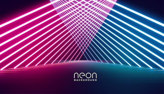 Glowing nelights stage pathway background Free Vector