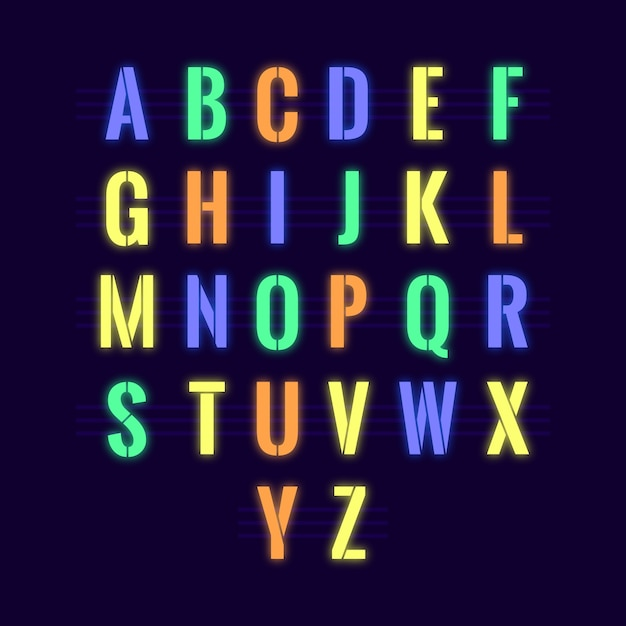 Glowing neon alphabet Free Vector