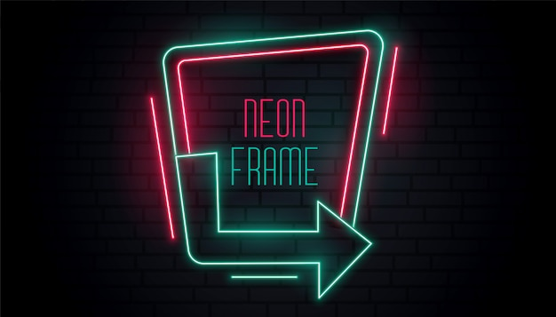 Glowing neon arrow signage with text space Free Vector