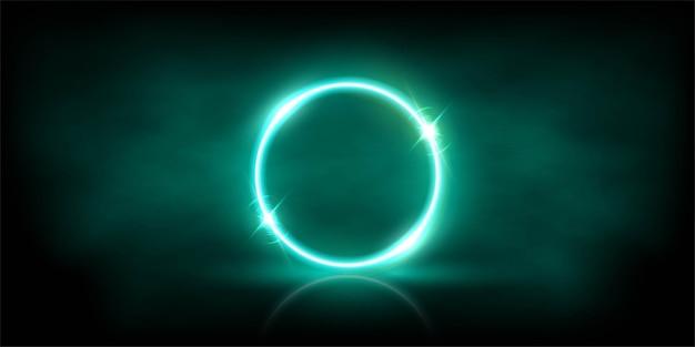 Светящийся неоновый лазурный круг с блестками в тумане абстрактного фона. Premium векторы