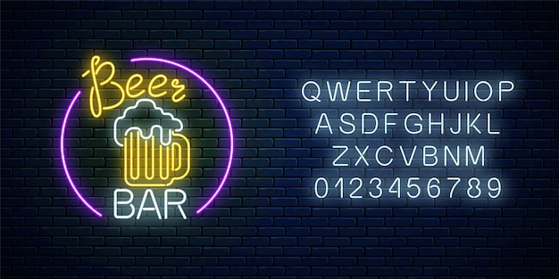 Glowing neon beer bar signboard in circle frame with alphabet. luminous advertising sign pub. Premium Vector