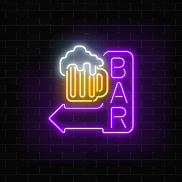 Glowing neon beer bar signboard with arrow on dark brick wall luminous advertising sign Premium Vector