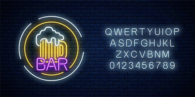 Glowing neon beer pub signboard in circle frames with alphabet on dark brick wall Premium Vector