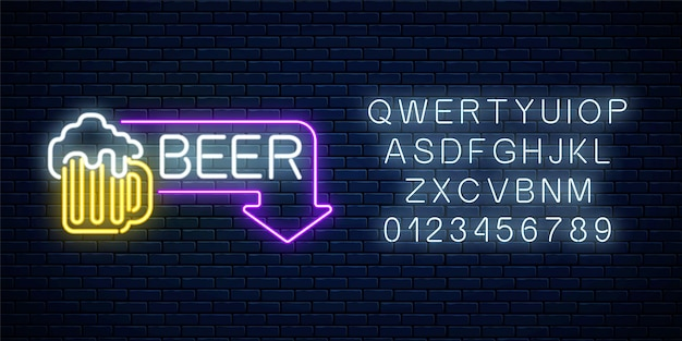 Glowing neon beer pub signboard in rectangle frame with arrow and alphabet on dark brick wall Premium Vector