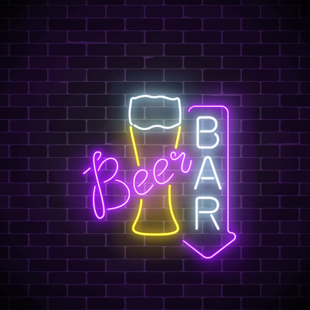Glowing neon beer pub signboard Premium Vector