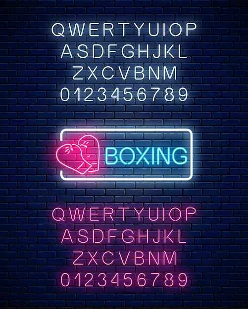 Glowing neon boxing club sign in rectangle frame with alphabet. Premium Vector