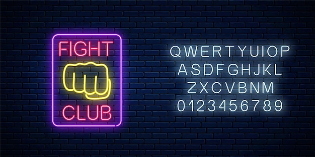 Glowing neon fighting club sign with alphabet on brick wall background. Premium Vector