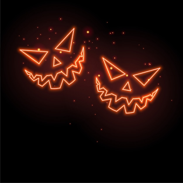 Glowing neon ghost faces on black background Free Vector