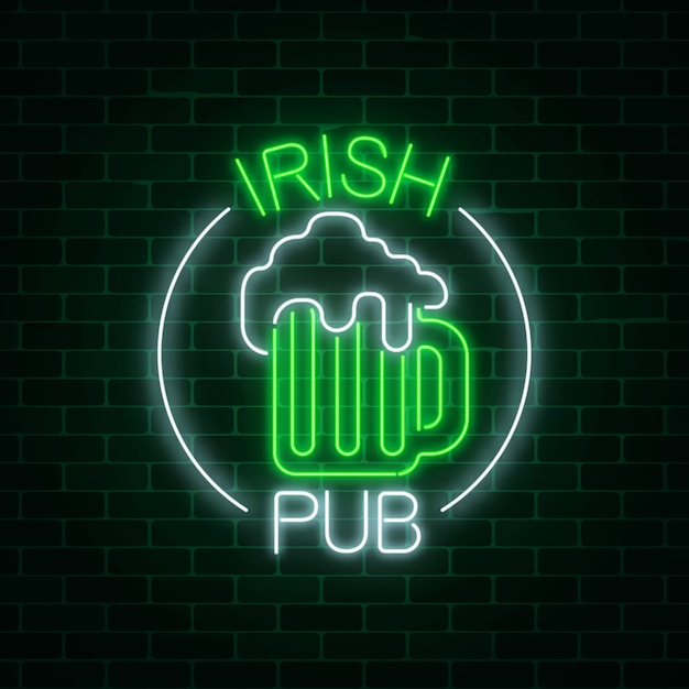 Glowing neon irish pub signboard in circle frame with text on dark brick wall background. Premium Vector