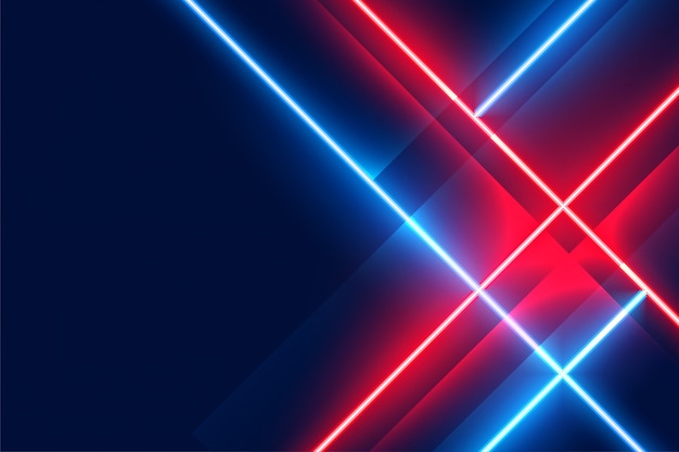 Glowing neon led lights on blue and red color Free Vector
