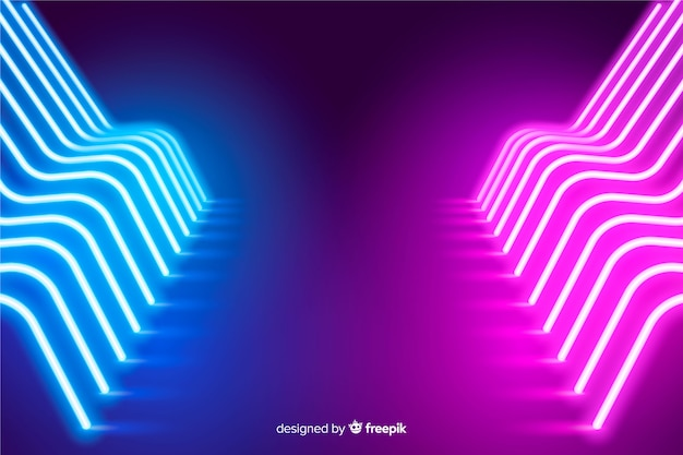 Glowing neon lights stage background Free Vector