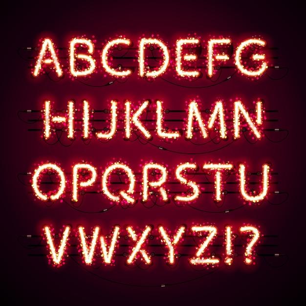 Glowing neon red alphabet with glitter on dark Premium Vector