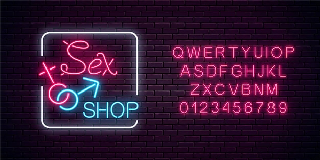 Glowing neon sex shop street sign with alphabet. adult store banner. sex toys for adults people. Premium Vector