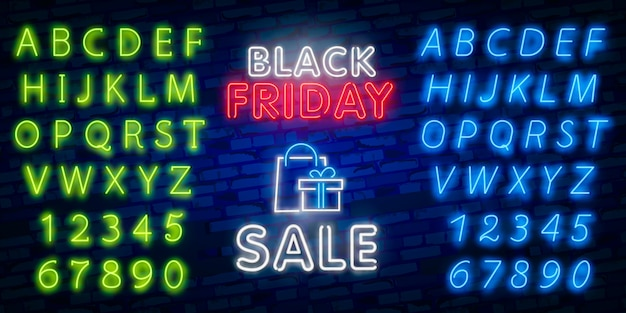 Glowing neon sign of black friday sale in rectangle frame with shopping symbols Premium Vector