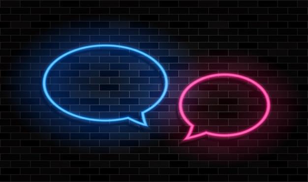 Premium Vector Glowing Neon Speech Bubble On Black Brick Wall Background