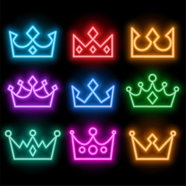輝くネオンスタイルの王冠は多くの色で設定 無料ベクター