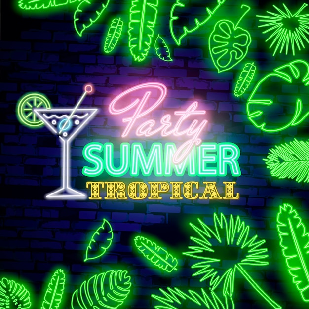 Glowing neon summer tropical party sign with neon tropical exotic leaves on dark brick wall background. Premium Vector