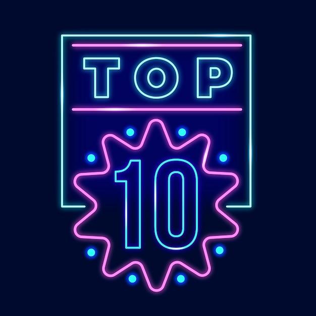 輝くネオントップ10サイン 無料ベクター