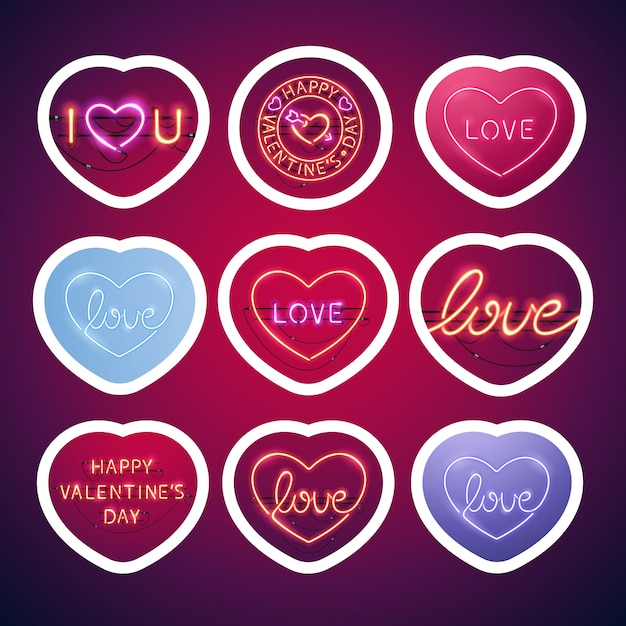 Glowing neon valentine signs sticker pack with stroke Premium Vector