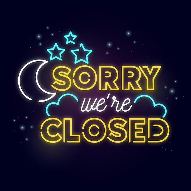 Neon incandescente siamo segno chiuso Vettore gratuito