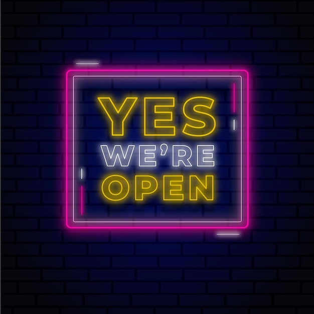 Glowing neon we are open sign Free Vector