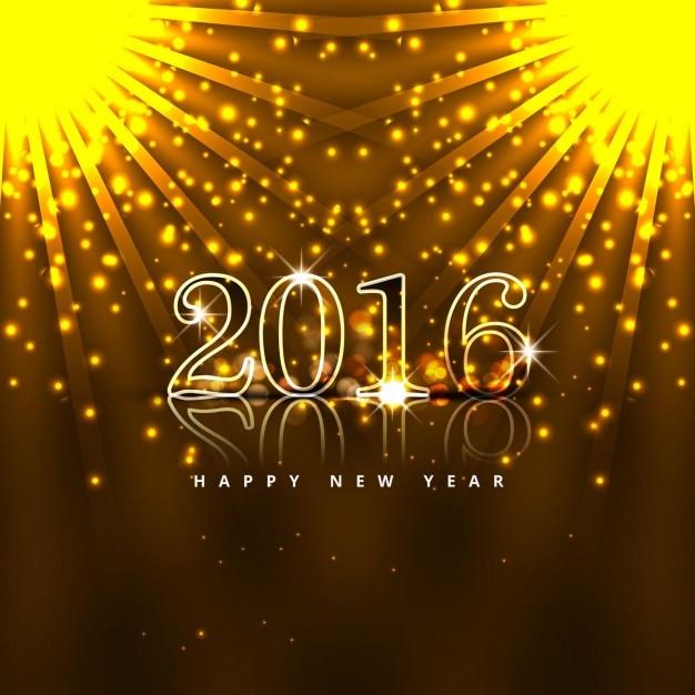 Glowing new year 2016 card