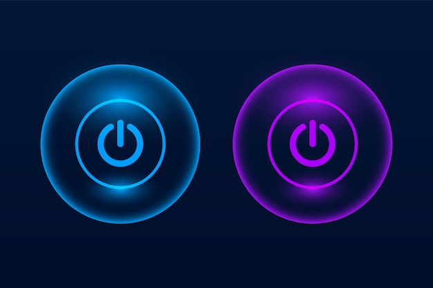 Glowing on and off push button on dark Premium Vector