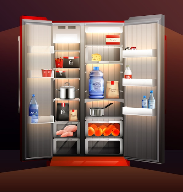 Illustrazione di frigorifero aperto incandescente Vettore gratuito